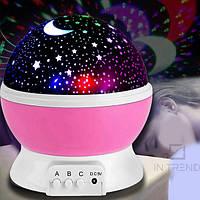 Детский ночник-проектор звездное небо Star Master Dream вращающийся розовый.