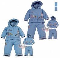 """Комплект """"Бобик"""" (куртка с капюш.+брюки) утепленный хлопок голубой -74 см"""