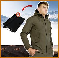 Куртка мужская хаки с капюшоном демисезонная SoftShell , молодежная куртка стильная + подарок