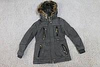 Демисезонная куртка- парка на меховой подкладке134,140 рост Цвет хаки