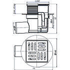 Трап ANI Plast TA5604 горизонтальный с пластиковой решеткой 100х100, фото 2