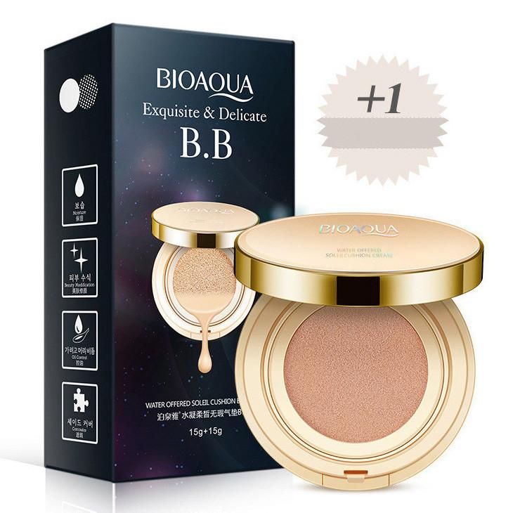 Тональный BB-крем кушон Bioaqua Exquisite & Delicate BB Water Offered Soleil Cushion Cream + сменный рефилл,