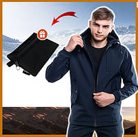 Куртка мужская синяя с капюшоном демисезонная SoftShell , молодежная куртка стильная + подарок
