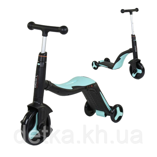 Самокат 3 в 1 Best scooter 20255 (самокат-велобег-велосипед), свет, 8 мелодий, колёса