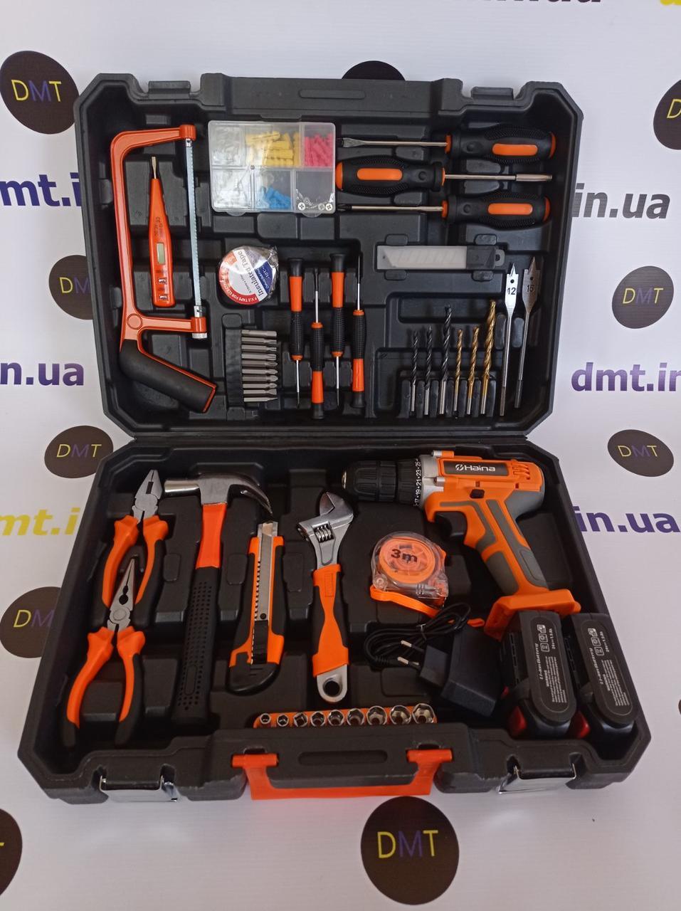 Універсальний набір інструментів для монтажу з дрилем-шуруповертом 50 предметів. Хайна 24V