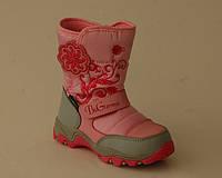 Термоботинки для девочек B&G-Termo арт.R161-3206 св-розовый цветы (Размеры: 22-28)