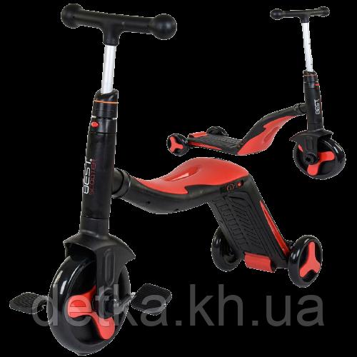 Самокат 3 в 1 Best scooter 28288 (самокат-велобег-велосипед), свет, 8 мелодий, колёса