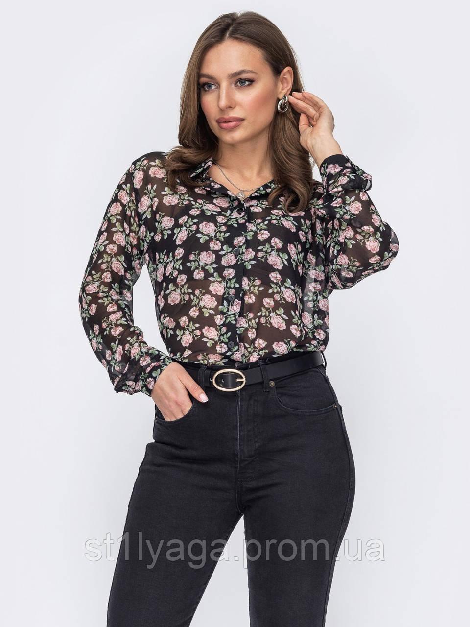 Черная блуза из шифона в цветочном принте на застежке пуговицы