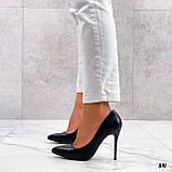 Женские туфли лодочки черные на каблуке 10 см эко кожа, фото 2