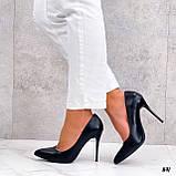 Женские туфли лодочки черные на каблуке 10 см эко кожа, фото 3