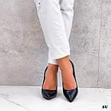 Женские туфли лодочки черные на каблуке 10 см эко кожа, фото 4