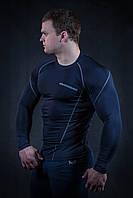 Рашгард мужской темно синий с серым швом (компрессионная одежда)