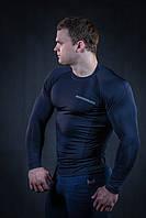 Рашгард мужской темно синий с черным швом (компрессионная одежда), фото 1
