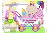 Схема для вышивания бисером - Детская метрика для девочки