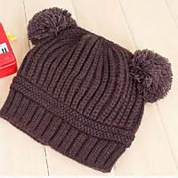 Детская теплая шапка с помпонами Coffee