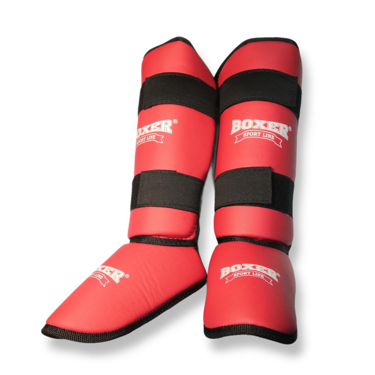 Защита голени и стопы кожвинил XL красный, BOXER