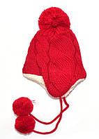 Детская теплая шапка с завязками на уши Red