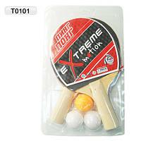 Теннис настольный T0101(50шт) 2 ракетки + 3 мячика, под слюдой 25*15 см