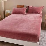 Бархатная простынь на резинке 200*230+25см Натяжная простыня на матрас или диван высокого качества, фото 2