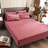 Бархатная простынь на резинке 200*230+25см Натяжная простыня на матрас или диван высокого качества, фото 4