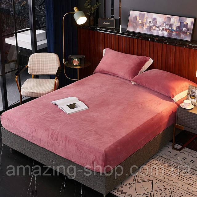 Бархатная простынь на резинке 200*230+25см Натяжная простыня на матрас или диван высокого качества