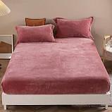 Бархатная простынь на резинке 200*230+25см Натяжная простыня на матрас или диван высокого качества, фото 5