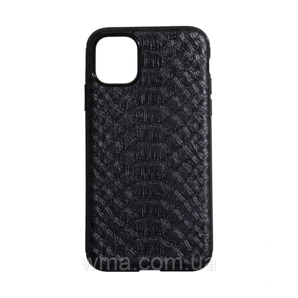 Чехол TPU Leather Croco with Magnit for Apple Iphone 11 Pro Max Цвет Чёрный