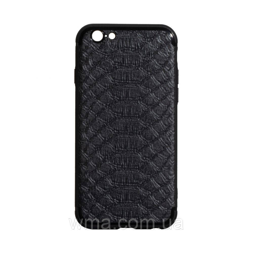 Чехол TPU Leather Croco with Magnit for Apple Iphone 6G Цвет Чёрный