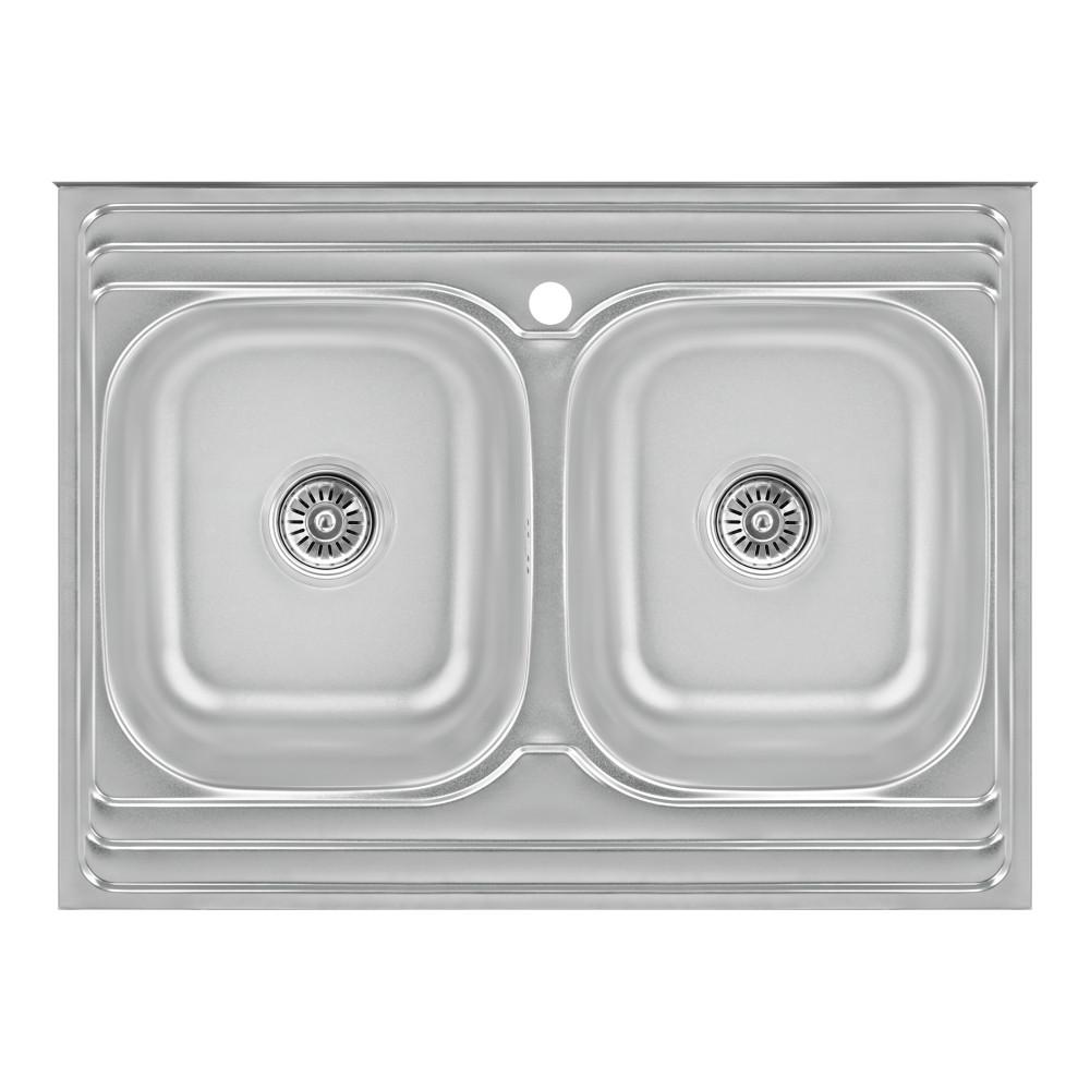 Кухонная мойка с двумя чашами Lidz 6080 0,8 мм Satin (LIDZ6080DBSAT8)