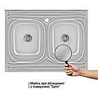 Кухонная мойка с двумя чашами Lidz 6080 0,8 мм Satin (LIDZ6080DBSAT8), фото 3