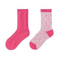 Детские термо носки для девочек Uniqlo 2шт M/L, Розовый