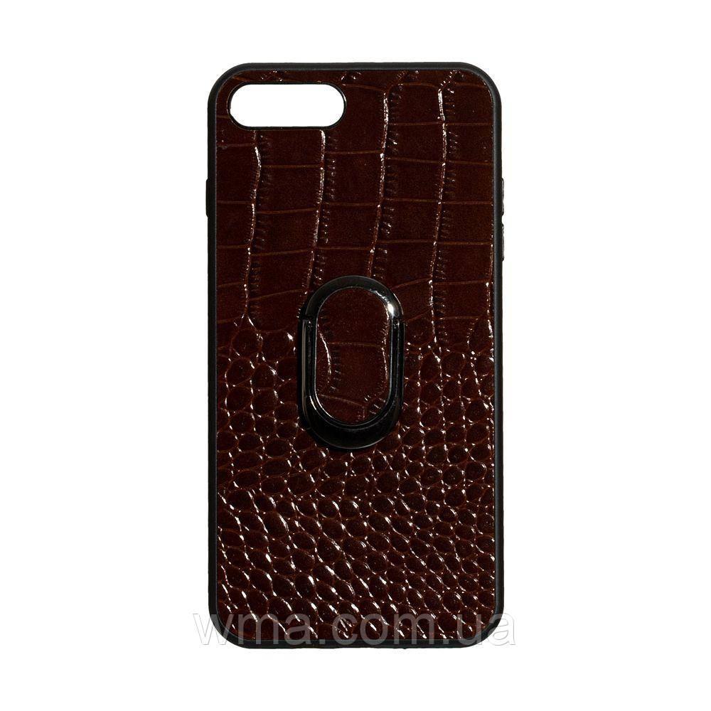 Чехол Genuine Leather Croco for Apple Iphone 8 Plus Цвет Коричневый