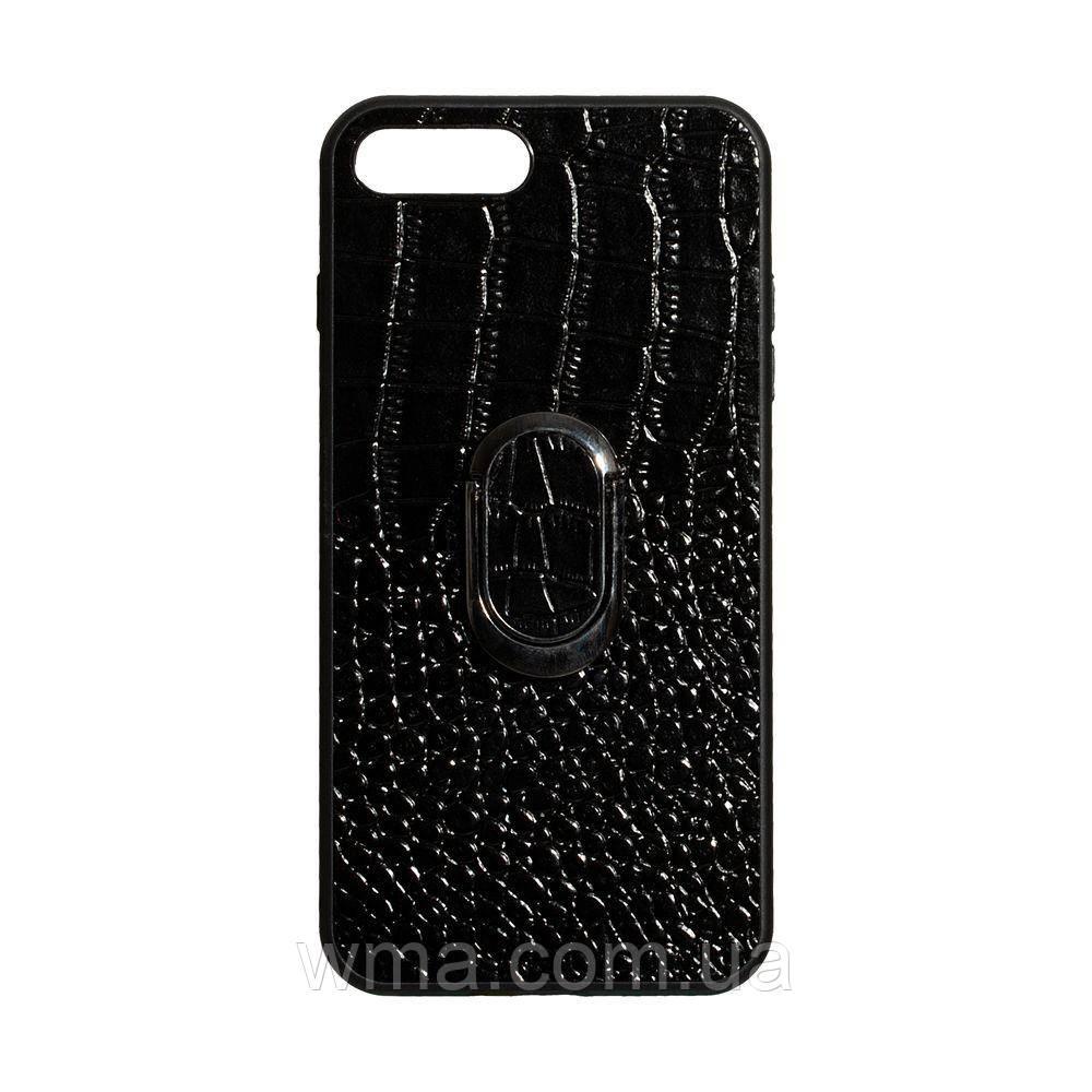 Чехол Genuine Leather Croco for Apple Iphone 8 Plus Цвет Чёрный