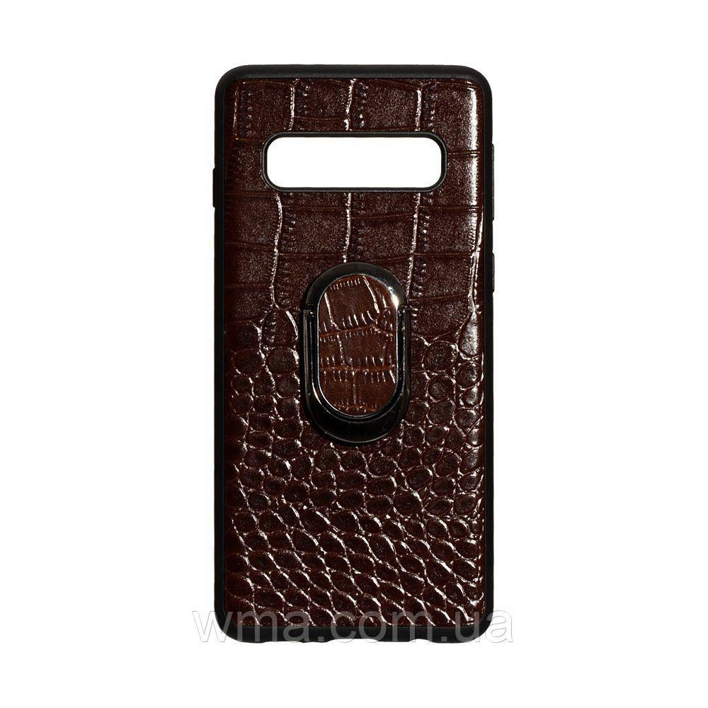Чехол Genuine Leather Croco for Samsung S10 Цвет Коричневый
