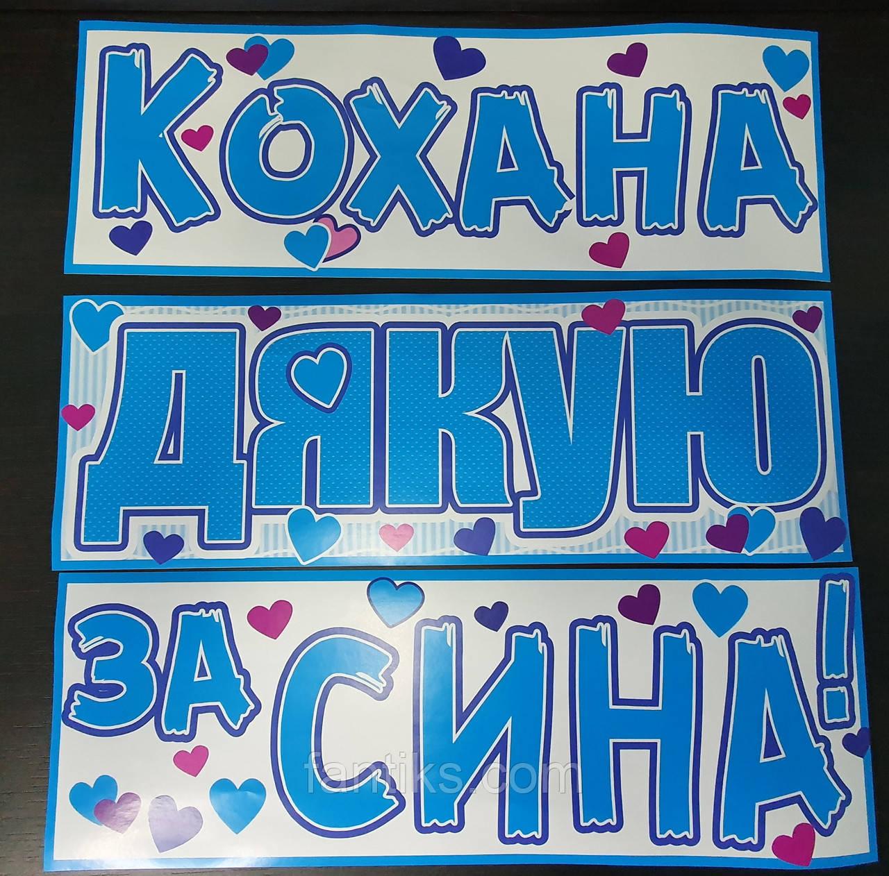 Набор наклеек на авто (и другие поверхности) для выписки-встречи малыша из роддома ( на укр.яз)