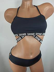 Дитячий і підлітковий купальник топ з принтом Savage Z. Five 376 чорний на 30 32 34 36 розмір