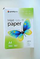 Фотобумага PrintPro A4 180 г/м, глянцевая (500 л упаковка)