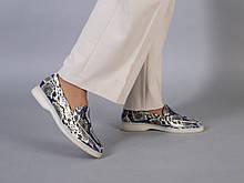 Туфли женские кожа рептилия на низком ходу