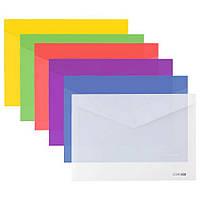 Папка на кнопці B5+ E31302 конверт, глянець кольорова прозора, 180мкм мікс уп12
