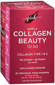 Гидролизованные пептиди колагену Pink Simply Collagen Beauty to Go 20 пак. ( Grass Fed )