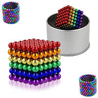 Конструктор магнитный цветнойНеокуб 216 шт Neocube магнитные шарики куб цветной антистресс в коробке.