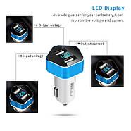 Автомобильное зарядное Meidi Dual USB Smart LED, фото 3