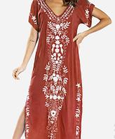 Раззмер 54-58 (3-5XL).Яркое женское туника-платье с вышивкой красного цвета для отдыха, пляжная накидка,