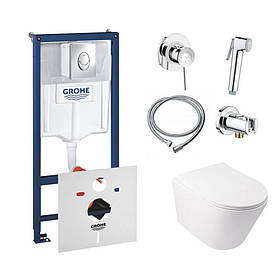 Комплект інсталяція Grohe Rapid SL 38721001 + унітаз з сидінням Qtap Swan QT16335178W + набір для гігієнічного