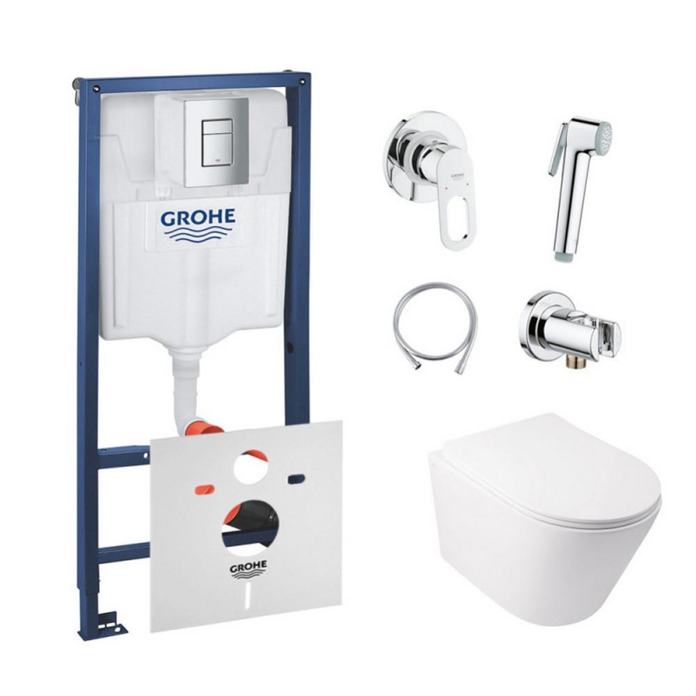 Комплект інсталяція Grohe Rapid SL 38772001 + унітаз з сидінням Qtap Swan QT16335178W + набір для гігієнічного