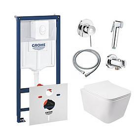 Комплект інсталяція Grohe Rapid SL 38722001 + унітаз з сидінням Qtap Crow QT05335170W + набір для гігієнічного