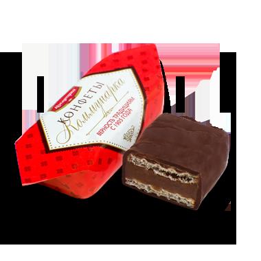 Велика цукерка Комунарка глазурована з вафельної начинкою 200 грамів