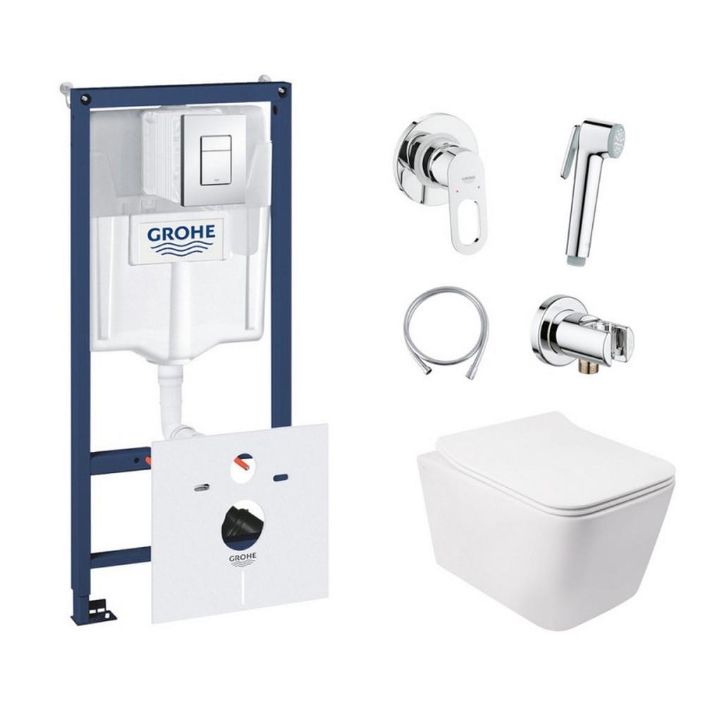 Комплект інсталяція Grohe Rapid SL 38827000 + унітаз з сидінням Qtap Crow QT05335170W + набір для гігієнічного