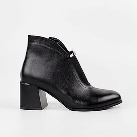 Ботильоны женские кожаные черные с резинкой MORENTO демисезонные