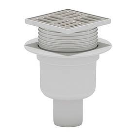 Трап ANI Plast TA5702 вертикальный с нержавеющей решеткой 100х100